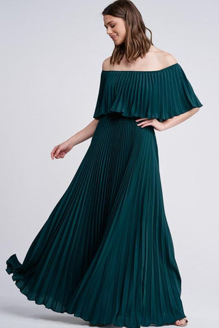 Mary Off Shoulder Pleated Maxi Dress -Hunter Green