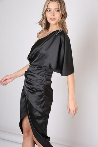 Alma Black One Shoulder Satin Dress