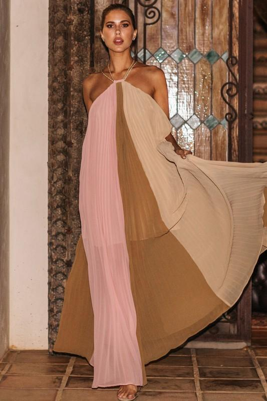 Evangeline Pleated Halter Maxi Dress