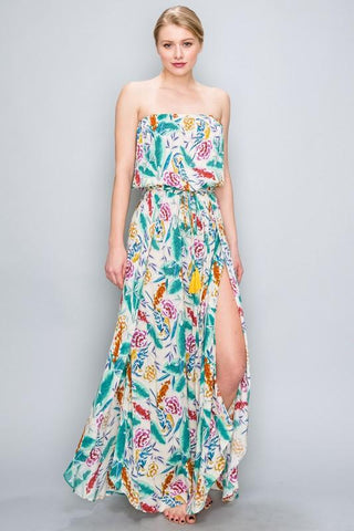 Jade Strapless Tropical Print Maxi Dress