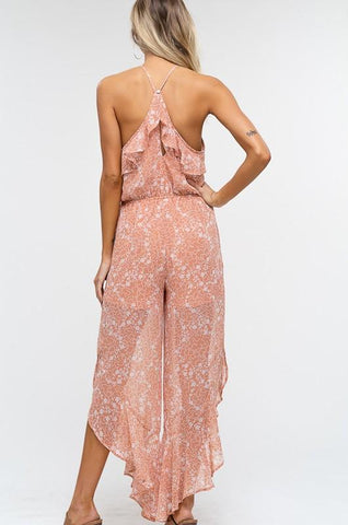 Macey Halter Floral Ruffle Jumpsuit - Peach