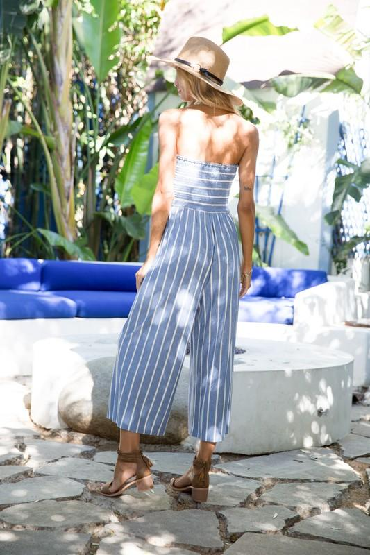 Helen Strapless Striped Jumpsuit - Light Blue