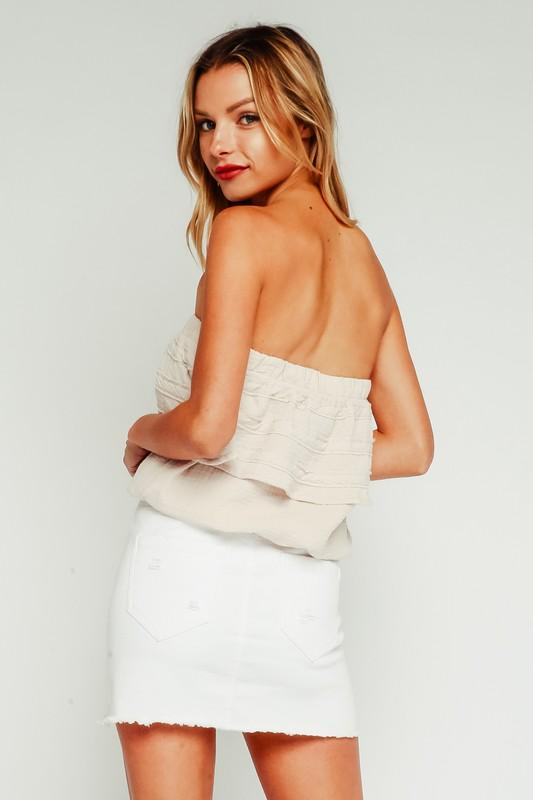 Anika Strapless Top with Ruffles