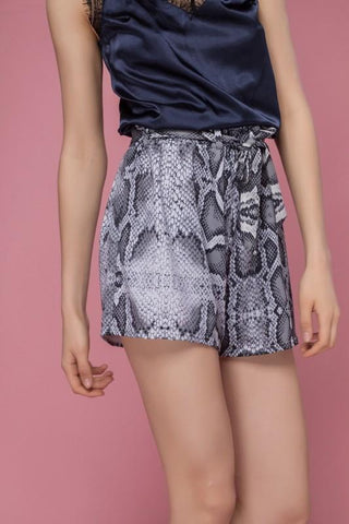 Ramona Animal Print Shorts - Grey