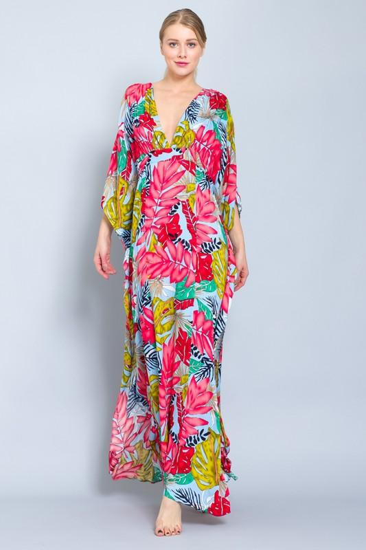 Aloha Tropical Kimono Maxi Dress