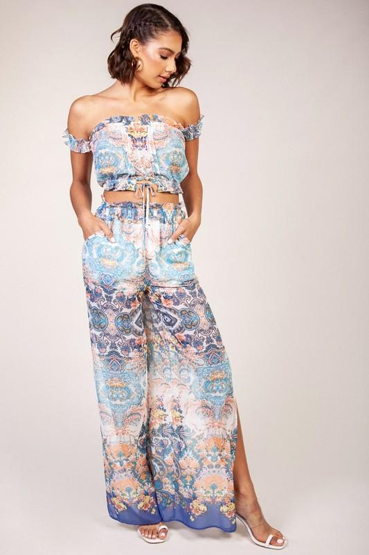 Enid Chiffon Pants & Matching Crop Top Set