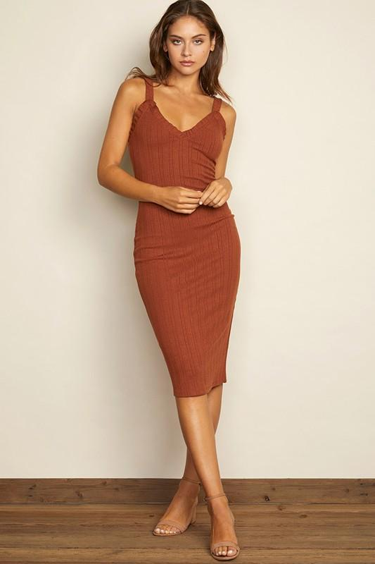 Sierra Ribbed Midi Dress - Rust