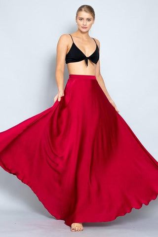 Elena Satin Maxi Skirt - Red