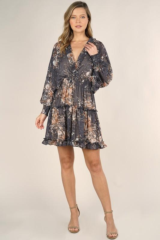Tinsley Floral Print Sheer Dress - Grey/Taupe
