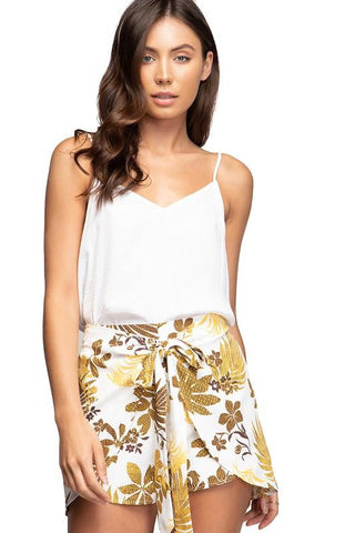 Bernice Leaf Pattern Wrap Shorts - Yellow