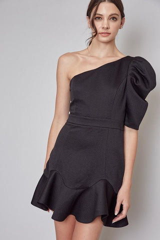 Christine One Shoulder Ruffle Dress