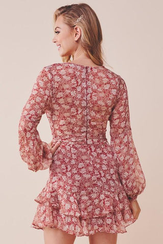 Anisa Floral Long Sleeve Mini Dress