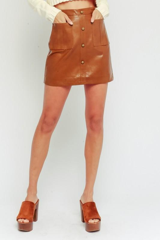 Roxy Leather Button Up Mini Skirt - Brown