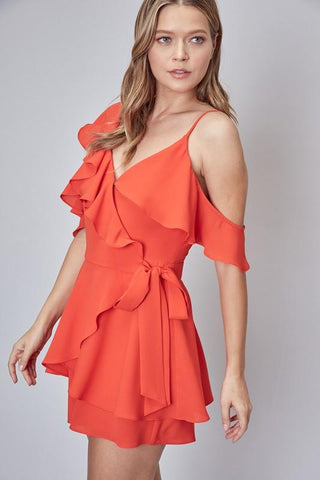 Liane Ruffle One Shoulder Romper