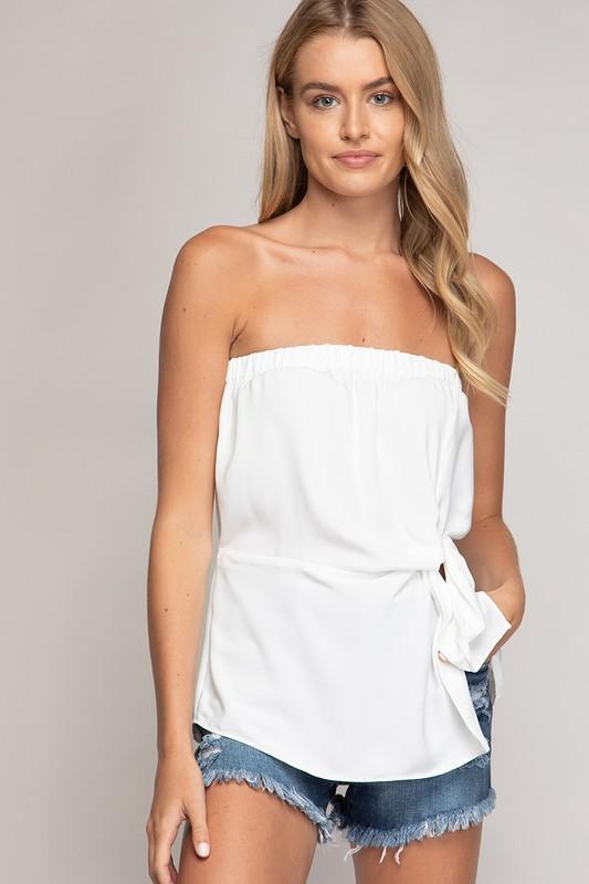 Suzy Strapless Twisted Front Top - White