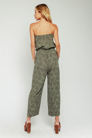 Amanda Strapless Palm Drawstring Jumpsuit