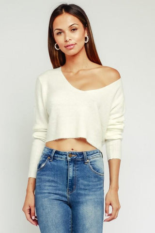 Valerie Cropped Fuzzy Sweater - White