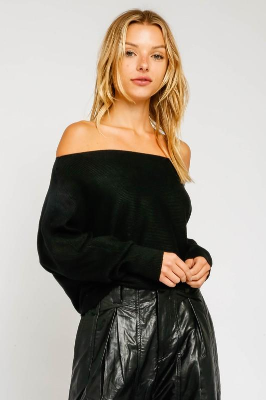 Sarabeth Ribbed Off the Shoulder Sweater - Black