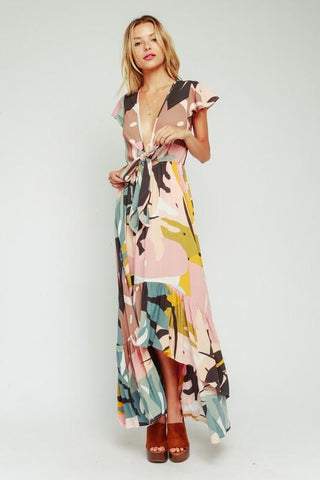 Melissa High Low Front Tie Maxi Dress