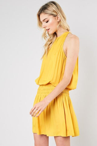 Candice Smocked Waist Mini Dress - Yellow