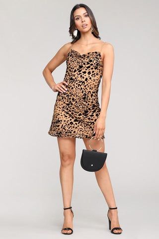 Delia Slip Dress With Burnout Leopard