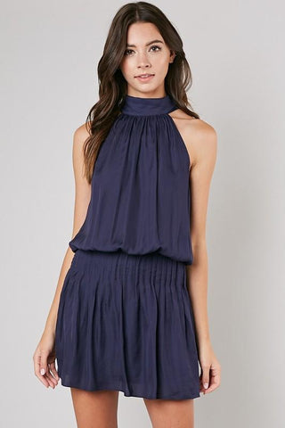 Sari Mock Neck Sleeveless Mini Dress - Navy