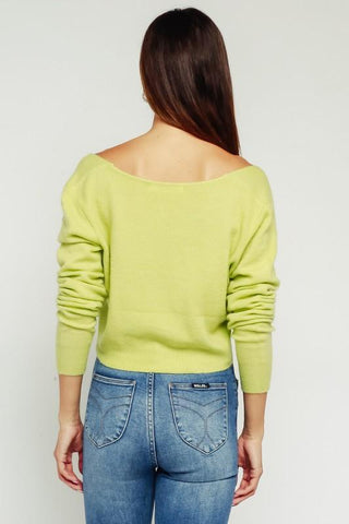 Valerie Cropped Fuzzy Sweater - Lime