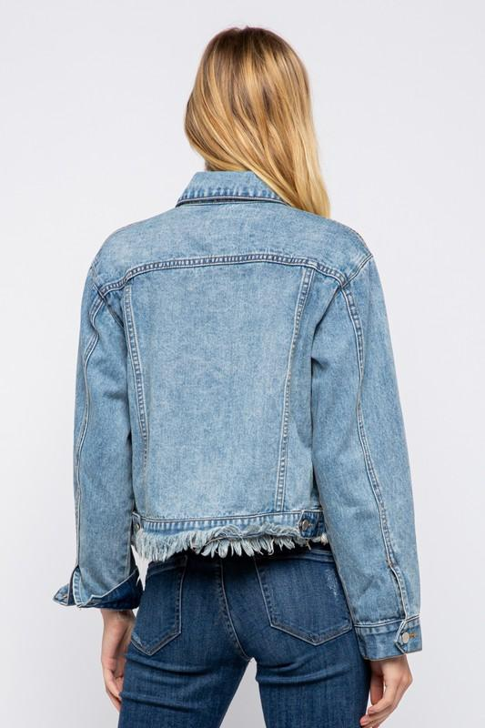 Mina Distressed Denim Jacket