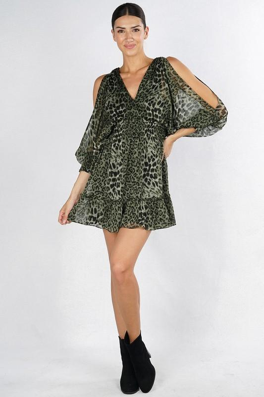 Brenda Leopard Smocked Mini Dress