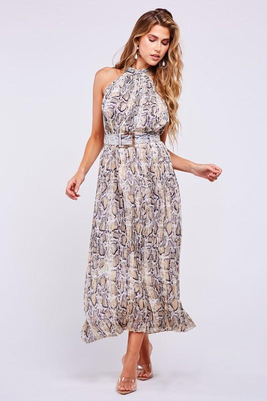 Veronique Snake Halter Pleated Maxi Dress