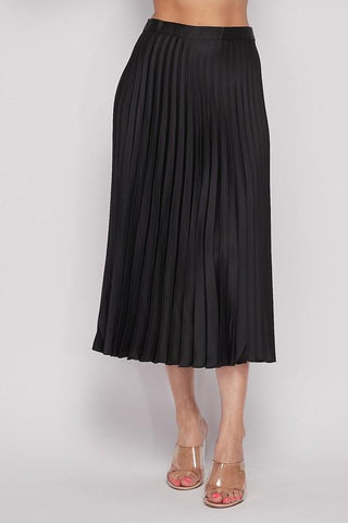 Leanne Pleated Midi Skirt - Black