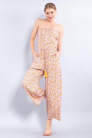 Dina Strapless Floral Cropped Jumpsuit - Pink/Yellow