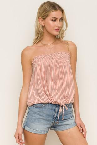 Carlotta Self Tie Striped Bandeau Top