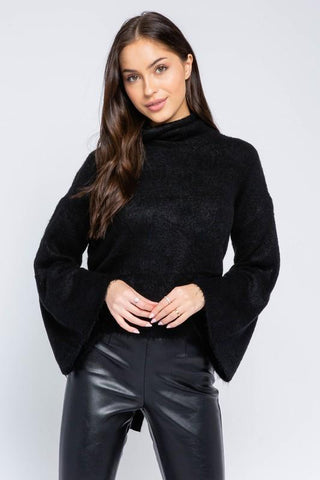 Asha Fuzzy Mock Neck Sweater