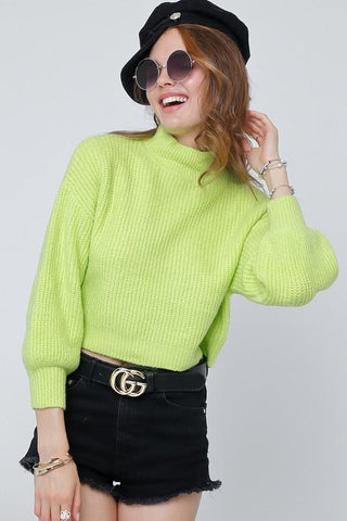 Becky Mock Neck Neon Sweater - Neon Lime