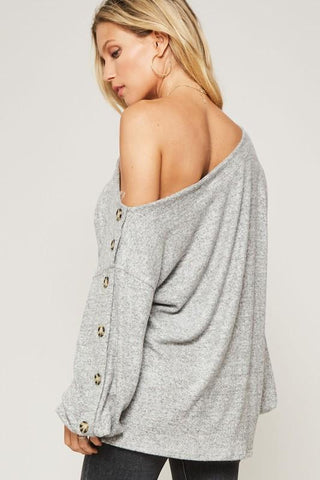 Lucille Off Shoulder Button Sweater - Grey