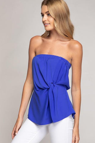 Suzy Strapless Twisted Front Top - Royal Blue