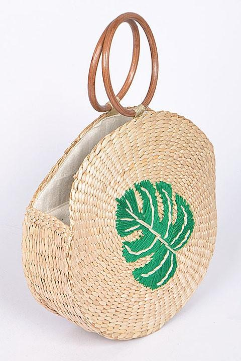 Tahiti Twined Palm Leaf Bag
