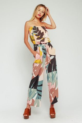 Rebecca Strapless Printed Jumpsuit