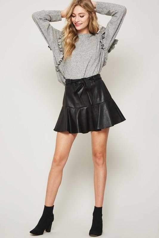 Audora Leather Skater Skirt