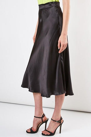 Laura Satin Midi Flare Skirt - Black
