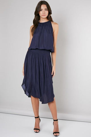 Johanna Smocking Waist Sleeveless Midi Dress - Navy