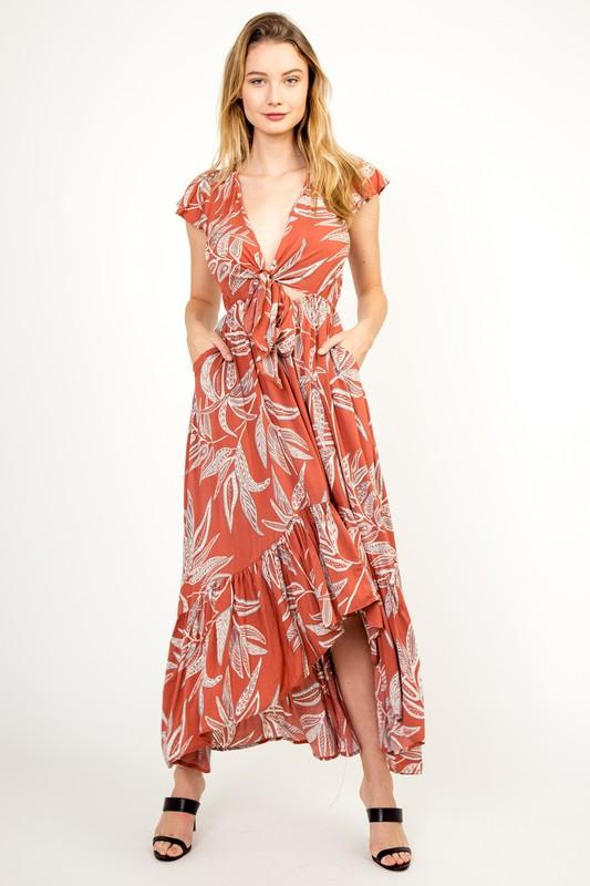 Edith Palm High Low Maxi Dress