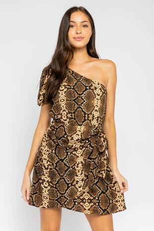 Sienna Cobra One Shoulder Dress