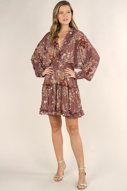Tinsley Floral Print Sheer Dress - Dusty Mauve