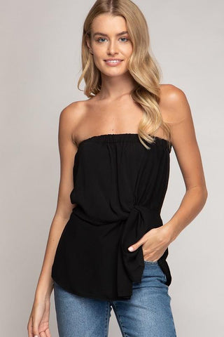 Suzy Strapless Twisted Front Top - Black