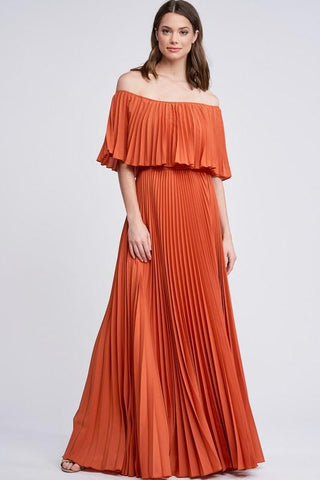 Mary Off Shoulder Pleated Maxi Dress - Rust