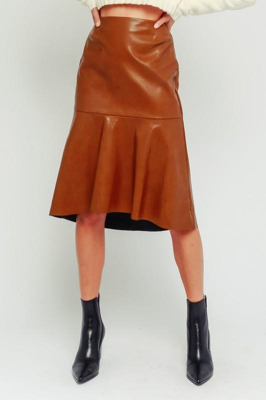 Betsy Faux Leather High Low Skirt - Camel