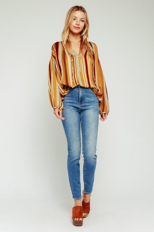 Prescott Stripe Long Sleeve Blouse