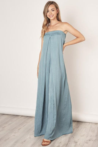 Helena Strapless Flowy Jumpsuit - Dusty Teal